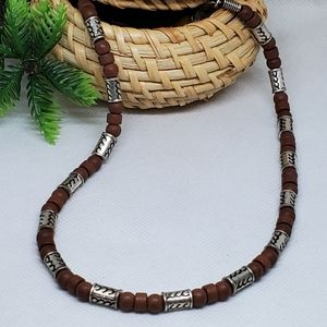 N138 Wooden & Rustic Silver Beaded Necklace